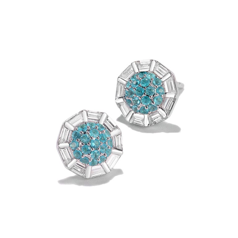 Trinity collection stud earrings set in 18K white gold with 0.41cts faceted paraiba and 0.64cts diamond.