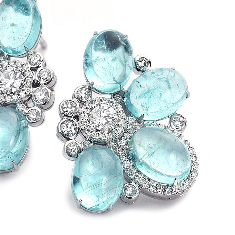 Women's 18 Karat White Gold Paraiba and Diamond Stud Earrings For Sale