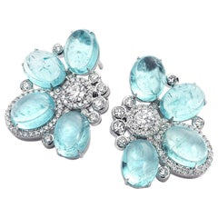 18 Karat White Gold Paraiba and Diamond Stud Earrings