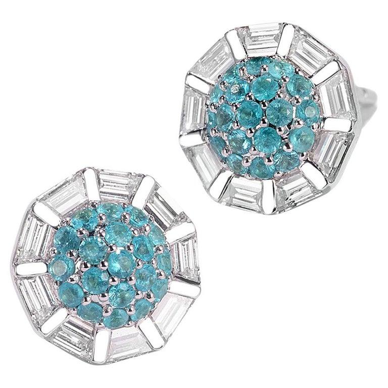 18 Karat White Gold Paraiba and Diamond Stud Earrings For Sale
