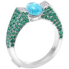 18 Karat White Gold Paraiba and Emerald Ring