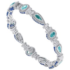 18 Karat White Gold Paraiba Diamond and Blue Sapphire, Bracelet