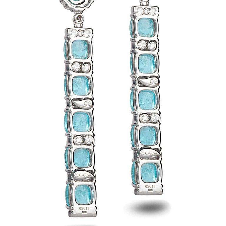 18 Karat White Gold Paraiba Long Earrings For Sale 2
