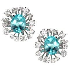 18 Karat White Gold Paraiba Star Burst Stud Earrings