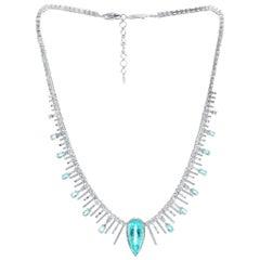 18 Karat White Gold Paraiba Tourmaline Diamond Wreath Style Coomi Necklace