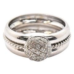 18 Karat White Gold Pave 0.35 Carat Diamond Ball Ring