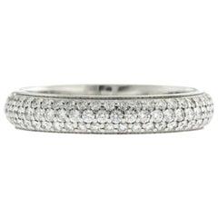 18 Karat White Gold Pave 1.10 Carat Diamond Wedding Band Eternity Ring