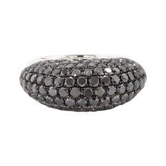 18 Karat White Gold Pave Black Diamond Dome Ring