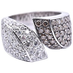 18 Karat White Gold Pave Champagne and White Diamond Bypass Ring