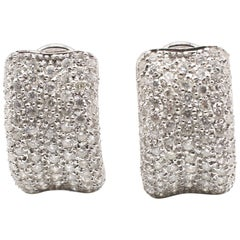 18 Karat White Gold Pave Diamond 2 Carat Earrings