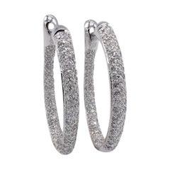 18 Karat White Gold Pave Diamond 2 Carat Hoop Earrings
