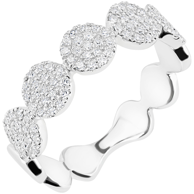 18 Karat White Gold Pave Diamond Band Ring