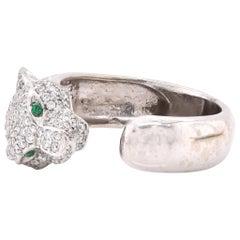 18 Karat White Gold Pave Diamond Big Panther Ring