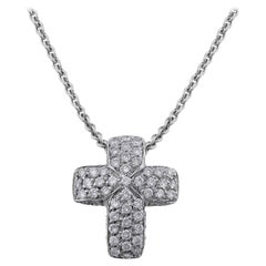 CJ Charles 18 Karat White Gold Pave Diamond Cross Pendant