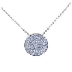18 Karat White Gold Pave Diamond Disc Necklace