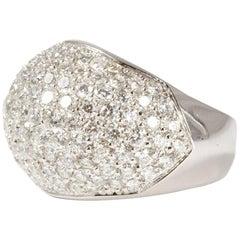 18 Karat White Gold Pave Diamond Dome Cocktail Ring