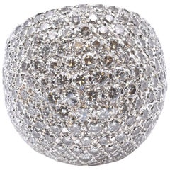 18 Karat White Gold Pave Diamond Dome Ring