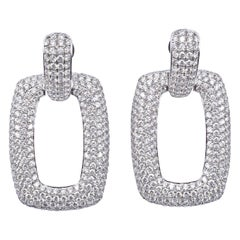 18 Karat White Gold Pave Diamond Door Knocker Earrings