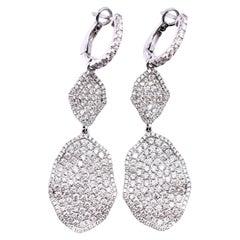 18 Karat White Gold Pavé Diamond Drop Earrings