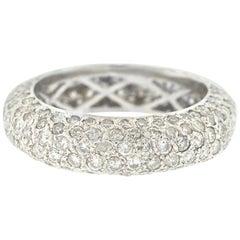 18 Karat White Gold Pave Diamond Eternity Band Ring