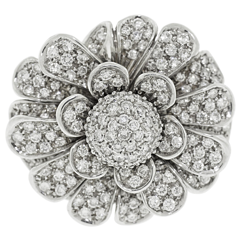 18 Karat White Gold Pave Diamond Flower Cocktail Ring