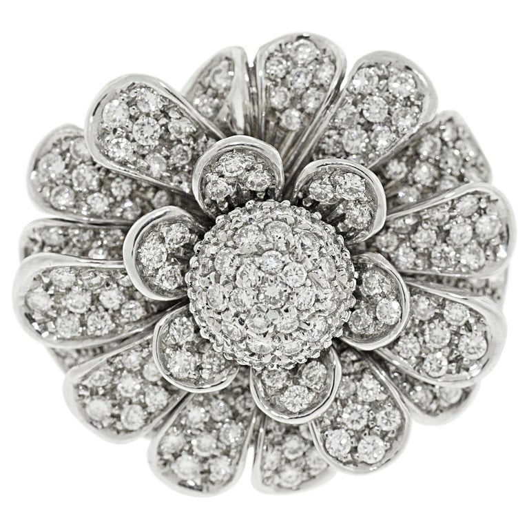 18 Karat White Gold Pave Diamond Flower Cocktail Ring For Sale