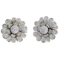 18 Karat White Gold Pave Diamond Flower Earring Clips