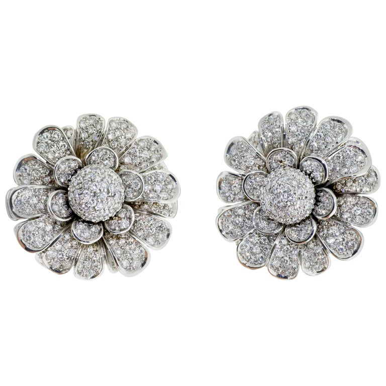 18 Karat White Gold Pave Diamond Flower Earring Clips For Sale