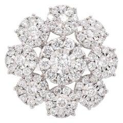 18 Karat White Gold Pavé Diamond Flower Ring
