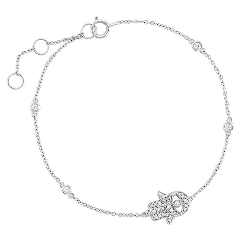 18 Karat White Gold Pave Diamond Hamza Evil Eye Chain Bracelet