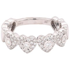 18 Karat White Gold Pave Diamond Heart Band