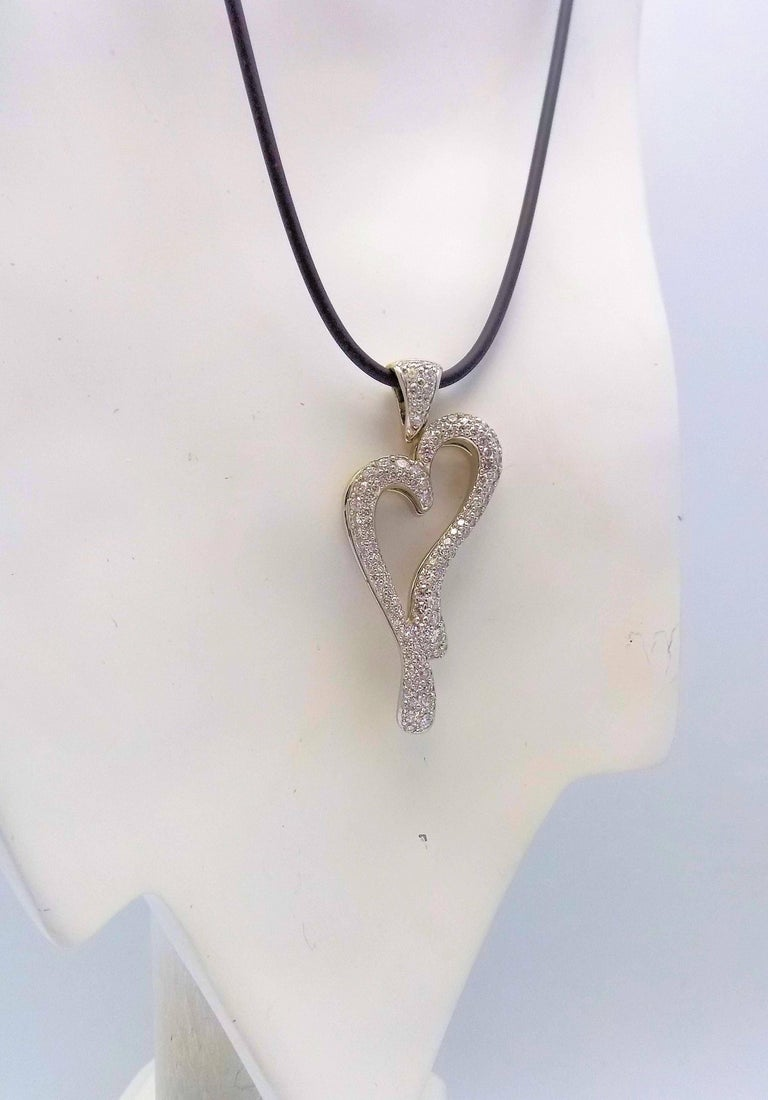 18 Karat White Gold Pave Diamond Heart Pendant by David Gardner In New Condition For Sale In Dallas, TX