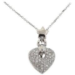 18 Karat White Gold Pave Diamond Heart Pendant Necklace