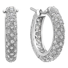 18 Karat White Gold Pave Diamond Hoops