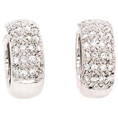 18 Karat White Gold Pave Diamond Huggies Earrings