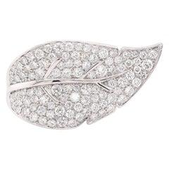 18 Karat White Gold Pave Diamond Leaf Ring