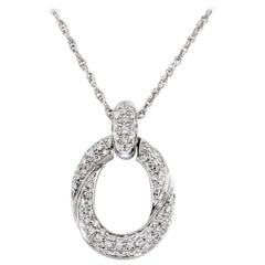 18 Karat White Gold Pave Diamond Link Pendant Necklace