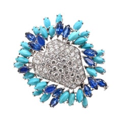18 Karat White Gold Pave Diamond, Sapphire, and Turquoise Freeform Pin