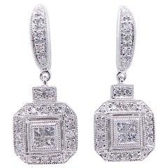 18 Karat White Gold Pave Diamond Square Cluster Drop 0.50 Carat Dangle Earrings