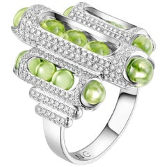18 Karat White Gold, Pave Diamonds, Fuli Peridot-Melody Cocktail Ring