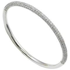 18 Karat White Gold Pave' Diamonds Garavelli Bangle Bracelet