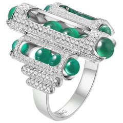 18 Karat White Gold, Pave Diamonds, Green Chalcedony-Melody Cocktail Ring