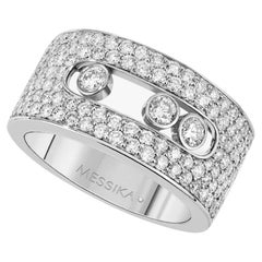18 Karat White Gold Pave Ring with Moving Diamonds by Messika, Paris