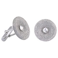 18 Karat White Gold Pave Rose Cut Diamond Cufflinks 3.40 Carat