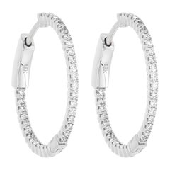 18 Karat White Gold Pave Round Diamond Huggie Hoop Earrings