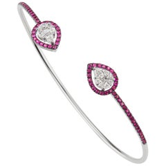18 Karat White Gold Pave Ruby and Marquise Diamond Cuff Bangle