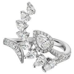 18 Karat White Gold Pear Diamond Bypass Ring