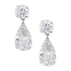 18 Karat White Gold Pear Diamond Drop Earrings GIA Certified