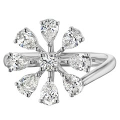 18K White Gold Pear Diamond Flower Cluster Ring