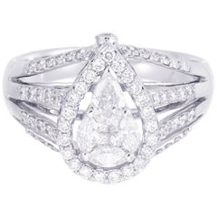 18 Karat White Gold Pear Illusion Diamond Cocktail Ring 1.00 Carat